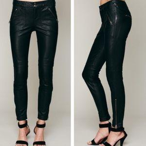Free People Black Vegan Leather Moto Pants